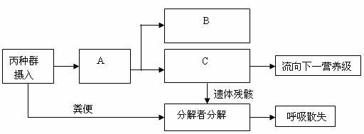 图一表示该人工生态系统的简图,图二表示该生态系统中四个种群和分解