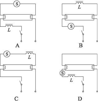 在下列四个日光灯的接线图中(s为起辉器,l为镇流器),正确的是( )