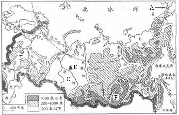 """读""""俄罗斯地图"""",完成下列填空:(1)亚欧两洲分界线上是图片"""