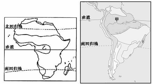 读 非洲和南美洲气候类型分布空白示意图 .回答下列问题. 1 试分析非洲和南美洲气候的共同特征 2 非洲干旱地区比南美洲广.其主要原因是 3 图13和图14中A图片