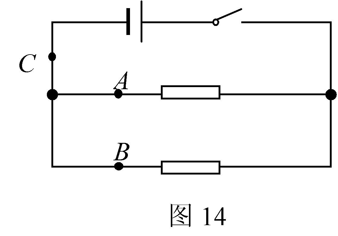 (2007,江西,28)【探究名称】探究并联电路中电流的关系 【提出问题】如图所示的并联电路中,流过A、B、C各处的电流之间可能有什么关系? 【设计实验与进行实验】 (1)按如图所示连接电路; (2)把电流表分别接入到电路中的A、B、C处,测出它们的电流,填入下表; (3)为了防止个别偶然因素的影响,我们可以采用以下两种方法之一,重复上面实验步骤. 方法一:改变电源电压 方法二:更换其中一条支路中的电阻(阻值不同)   【分析与论证】 (1)在拆接电路时,开关必须________; (2)上面设计的表格中
