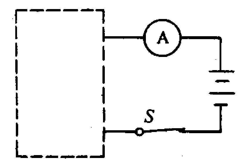 如图所示,虚线框内有两个阻值分别为5、10的电阻,小明同学想了解其连接方式,于是用3V的电源、电流表和开关进行了检测,闭合开关后,测得电流表的读数为0.2A.请你在方框中画出两个电阻的连接方式;若要增大电流表的读数,可以采取什么措施?