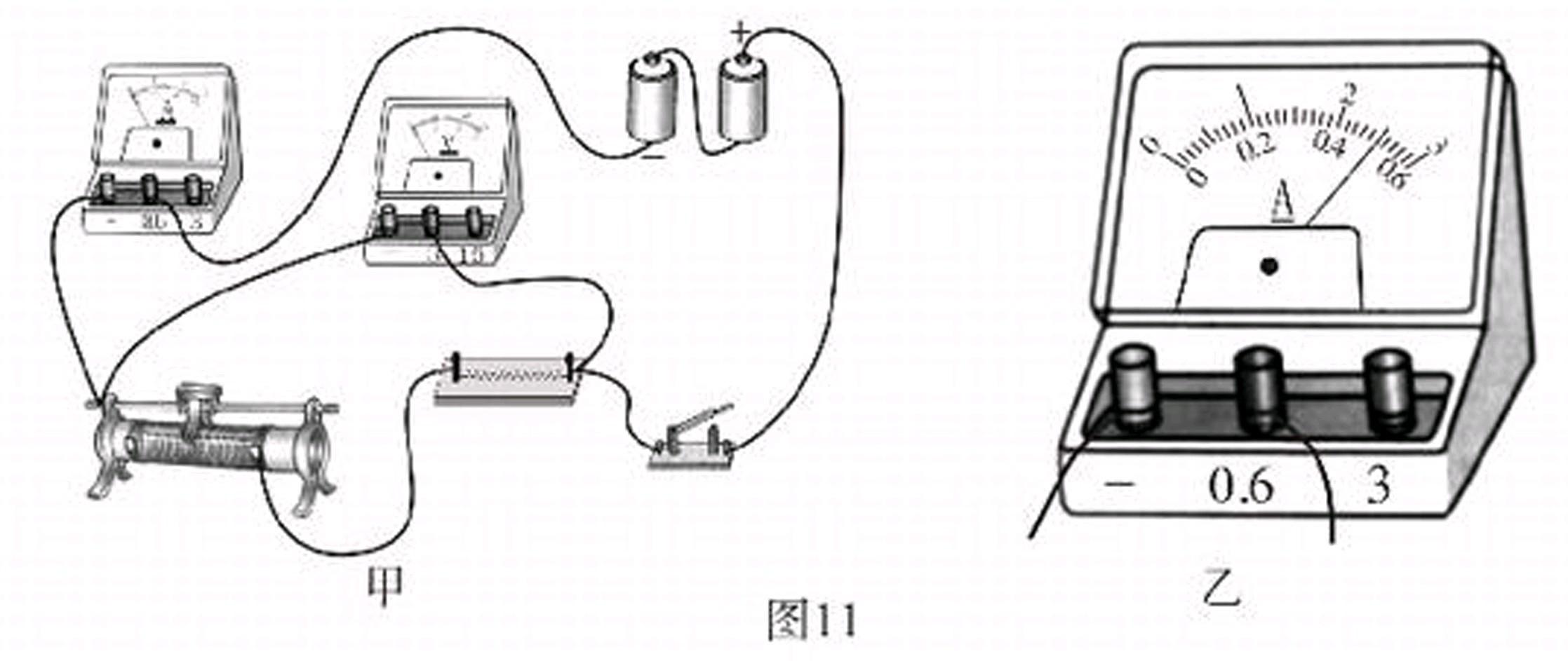 """在用""""伏安法""""测量导体电阻的实验中,某同学连接的实物电路如图11甲"""