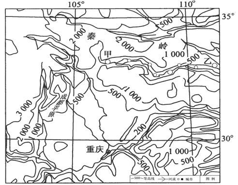 读我国某区域等高线地形图,回答下列问题.