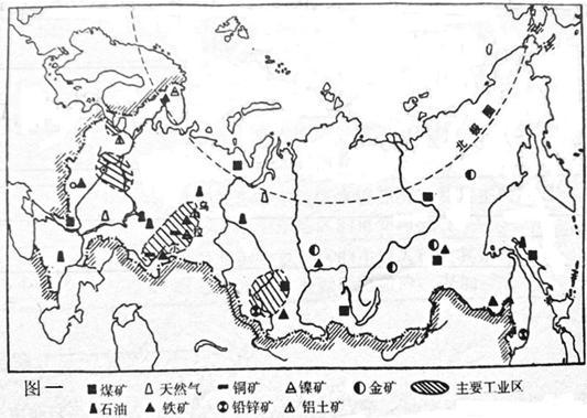 读俄罗斯矿产和工业区分布图(图一)以及日本工