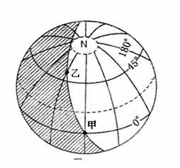 读下图.按要求完成下列问题. 1 此刻太阳直射点的纬度是 .经度是 . 2 图中甲乙两地均位于晨昏线中的 线上.乙地昼长是 小时. 3 此时北京时间是 时.我国南极中山考察站的夜长