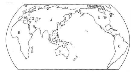 """读""""世界轮廓图"""",回答下列问题."""