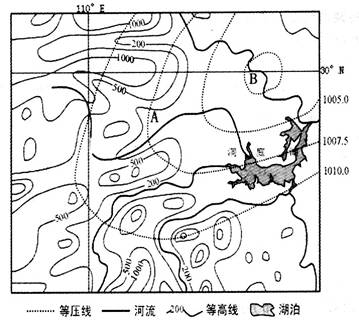材料一:我国某区域等高线地形图及某时刻近地面等压线分布图.