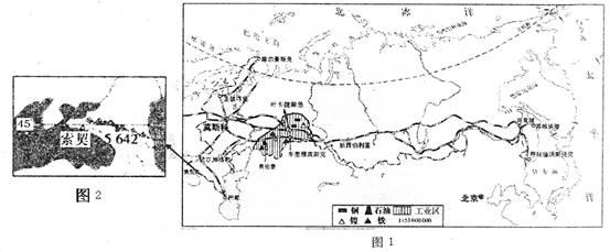材料一:俄罗斯铁路交通图(图1).图片