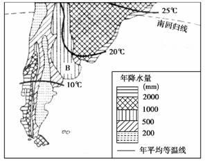 32.读南美南部降水分布与气温曲线图.回答问题. 1 图中A处的降水量非常少.简要说明原因. 2 阿根廷潘帕斯草原 B处 上的农业地域类型是 , 3 与我国内蒙古图片