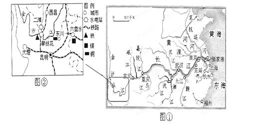 31.读长江流域水系图 .回答. (1)长江自西向东流