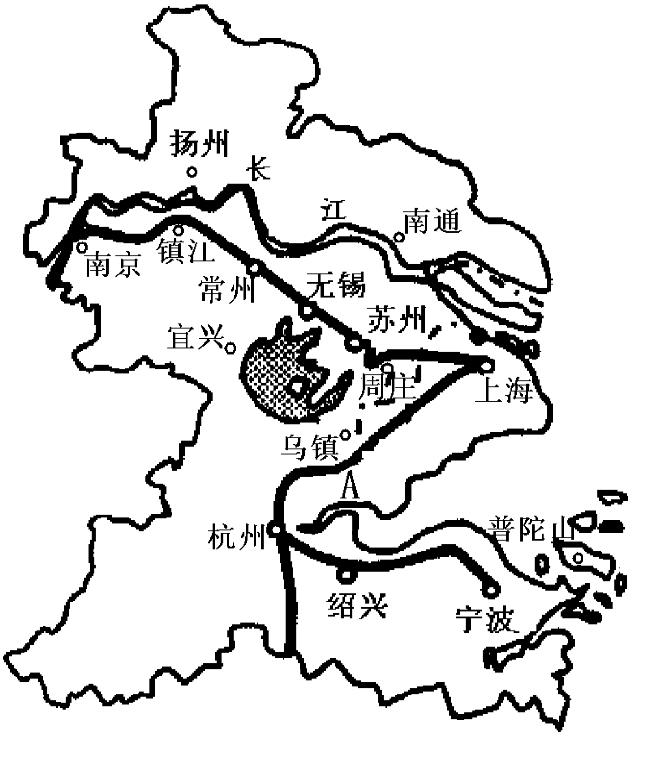 """读""""长江三角洲地区主要旅游地分布图"""",回答问题.(10分)"""