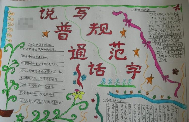说普通话写规范字手抄报内容