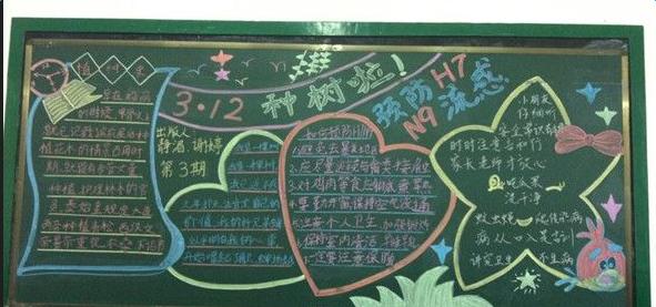 2016小学生植树节黑板报