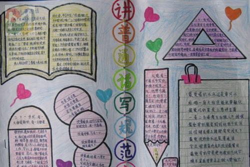 实用文档 学生天地 学习 手抄报 > 简单好看的说普通话写规范字手抄报