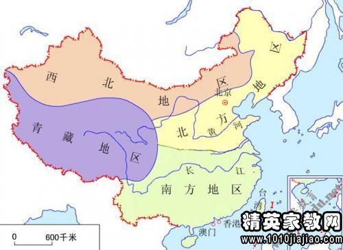 初中地理《四大教学区域的划分》初中反思v初中地理志愿图片