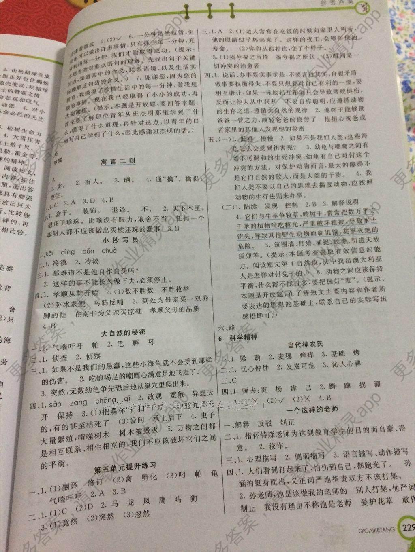2015年七彩课堂六年级语文上册苏教版答案