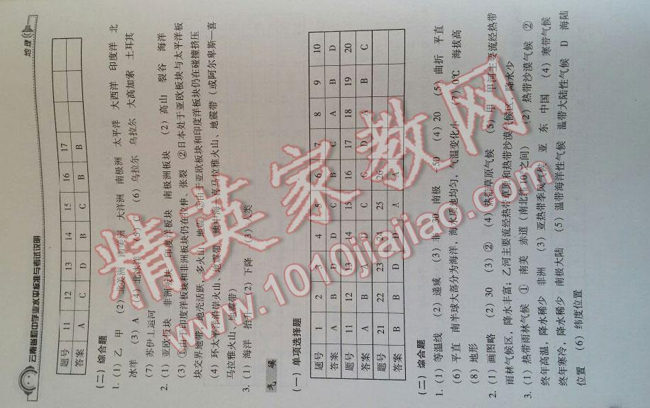 2016年云南省初中水平學歷標準與v初中說明初中第2頁模板學業地理圖片