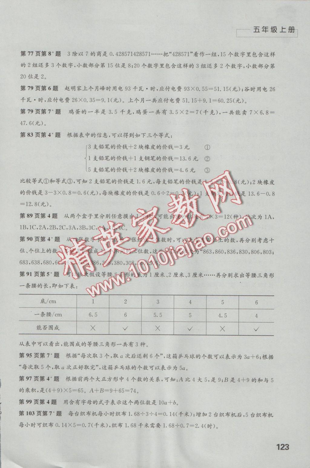 2016年练习与测试小学数学五年级上册苏教版参考答案第3页