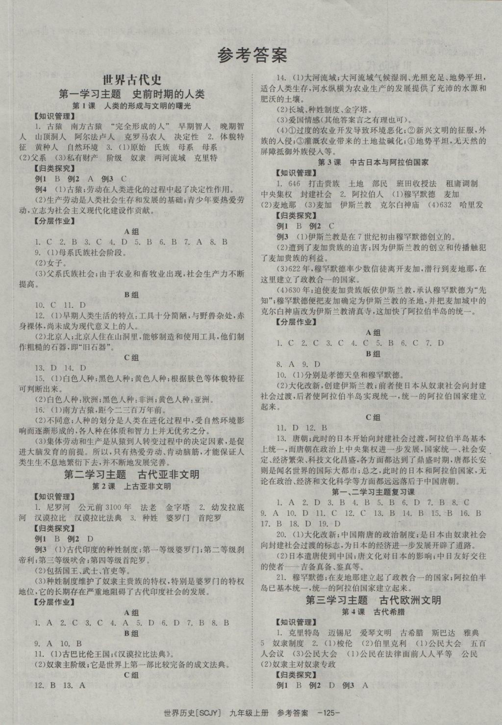 2016年全效学习九年级世界历史上册川教版参考答案第1页