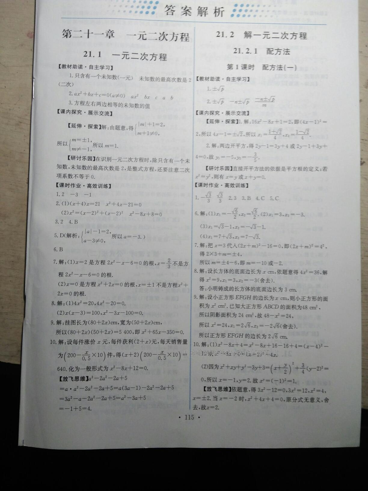 2016年能力培养与测试九年级数学上册人教版第1页
