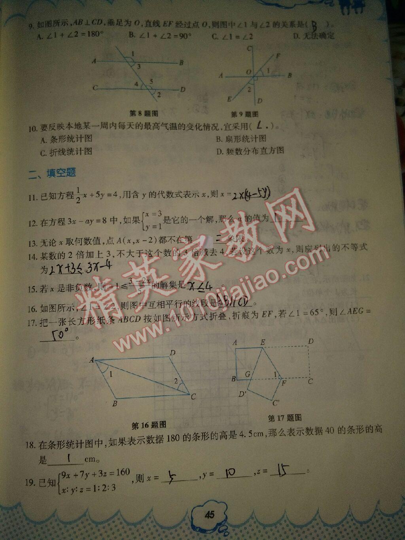 2017年暑假作业七年级数学人教版教育科学出版社参考答案第16页