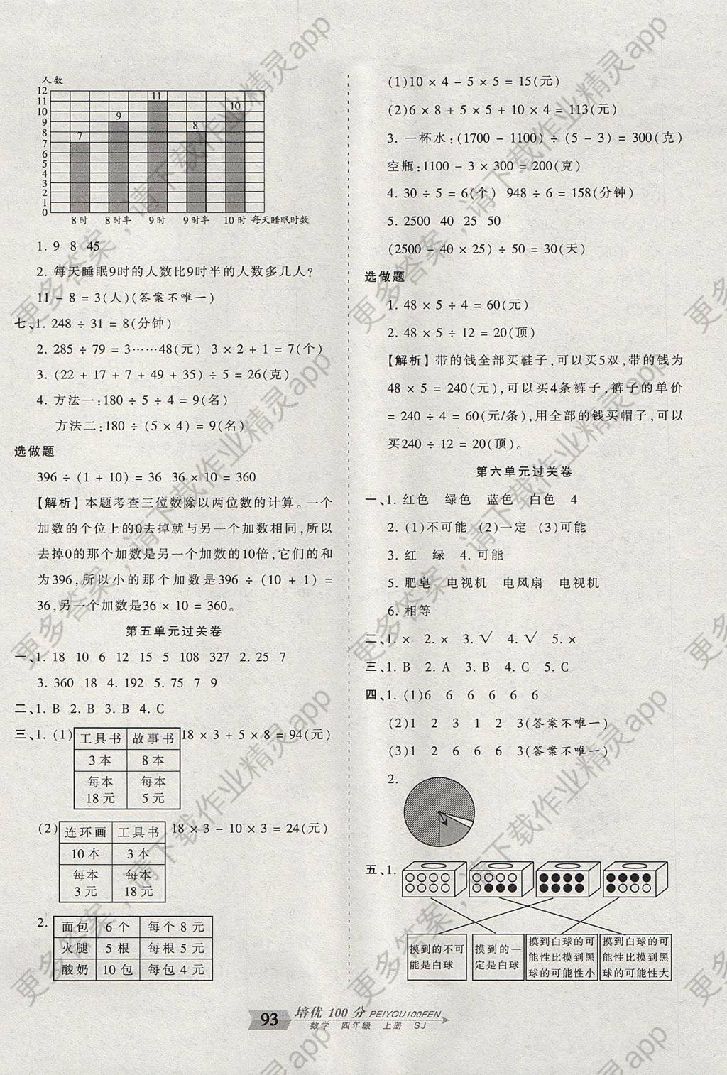 2017年王朝霞培优100分四年级数学上册苏教版答案