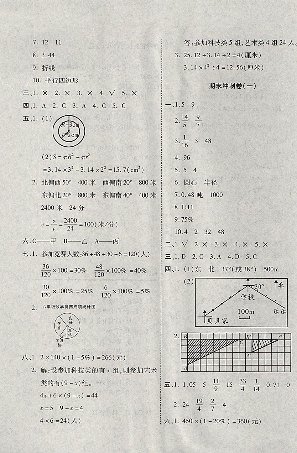 2017年名校练考卷期末冲刺卷六年级数学上册人教版答案