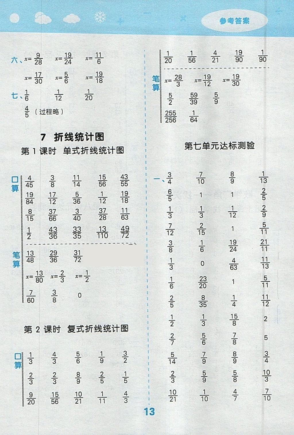 2018年数学口算大通关五答案年级小学人教版参考下册第13页小学报名西山图片