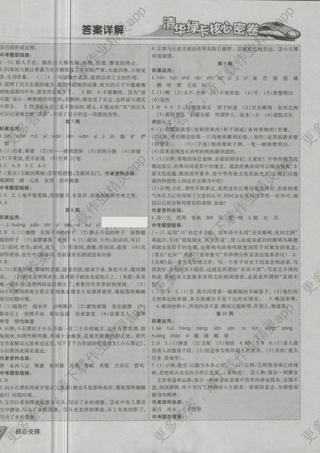 2018年清华绿卡核心密卷八年级语文下册人教版