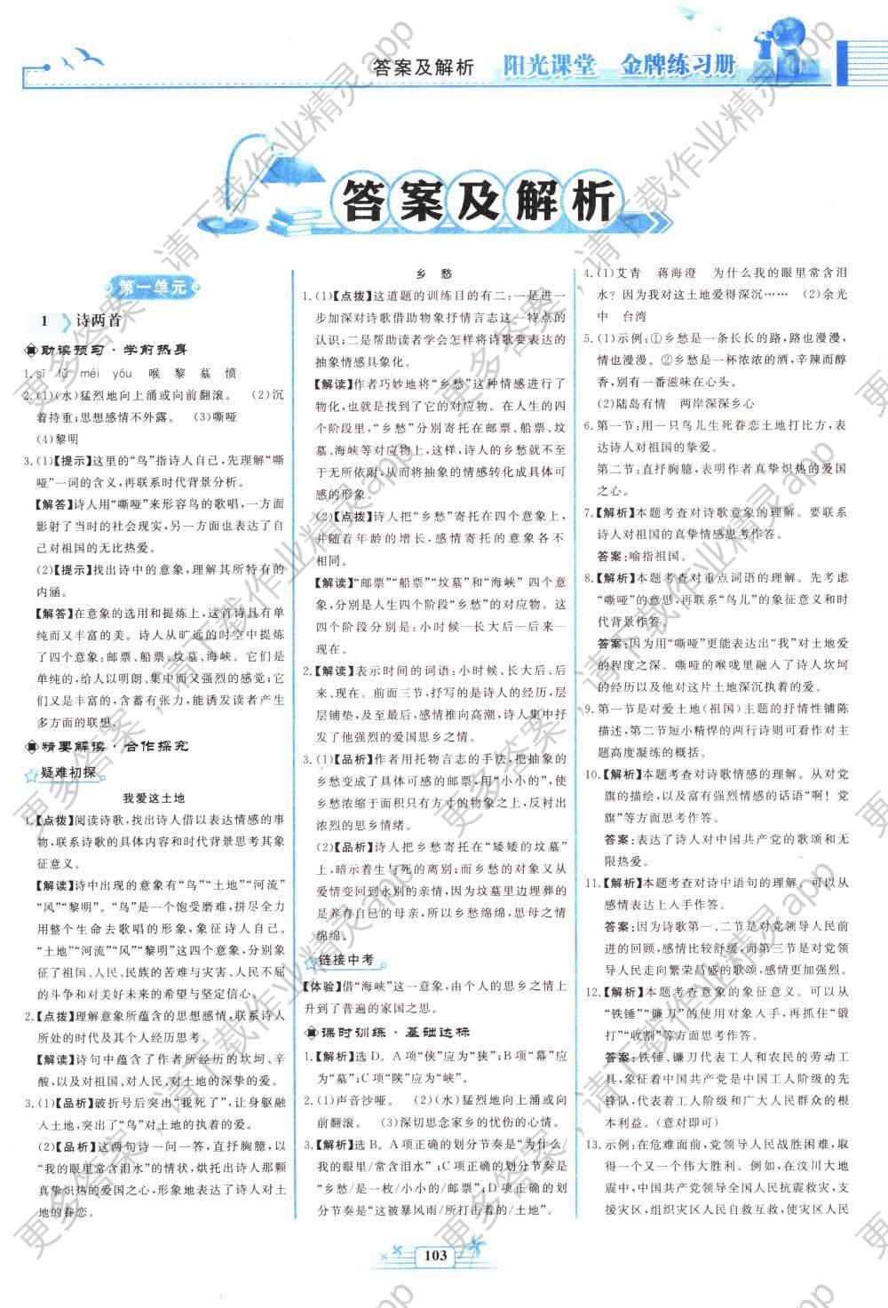 2018年阳光课堂金牌练习册九年级语文下册人教版图片