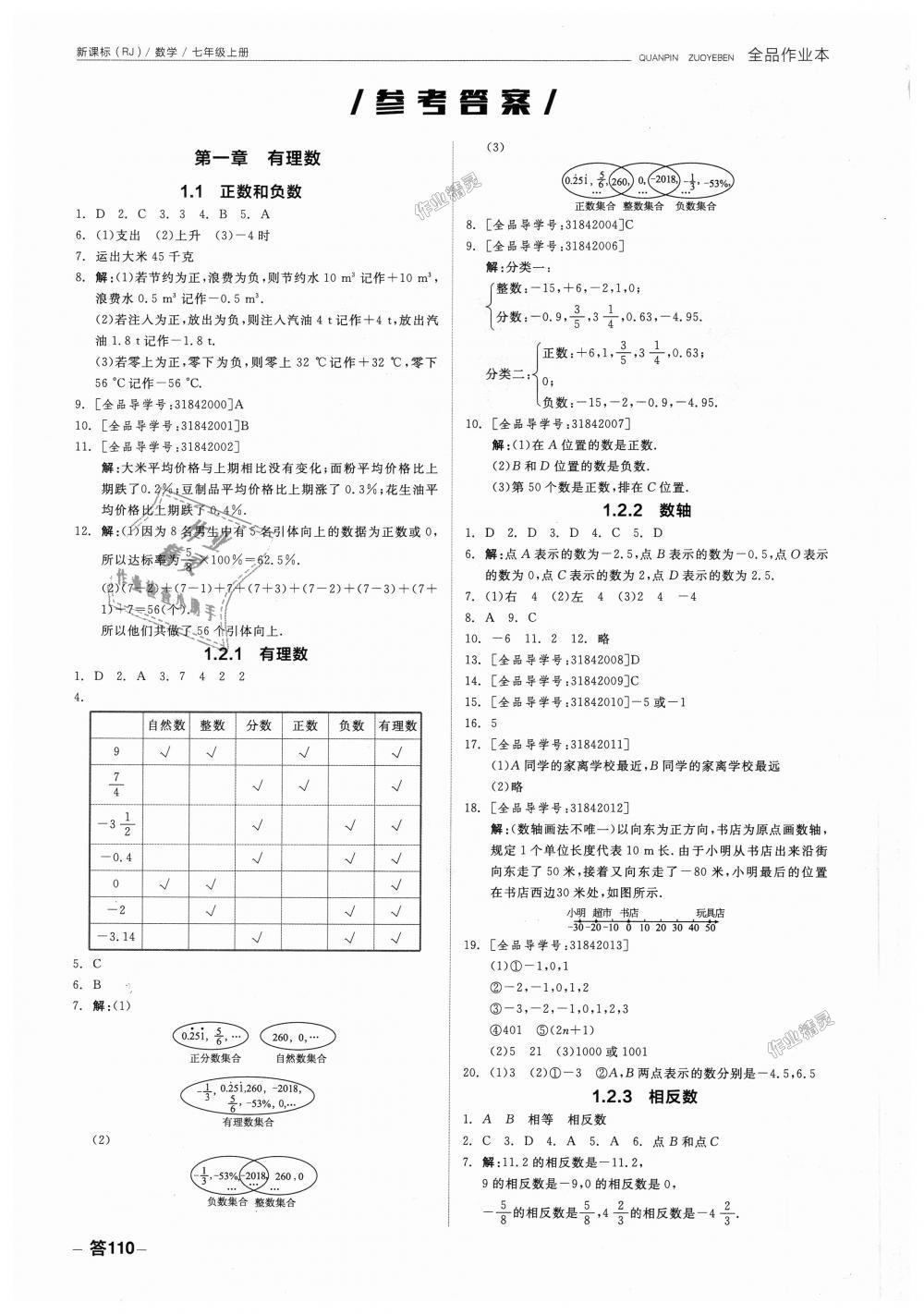 2018年全品作业本七年级数学上册人教版第1页