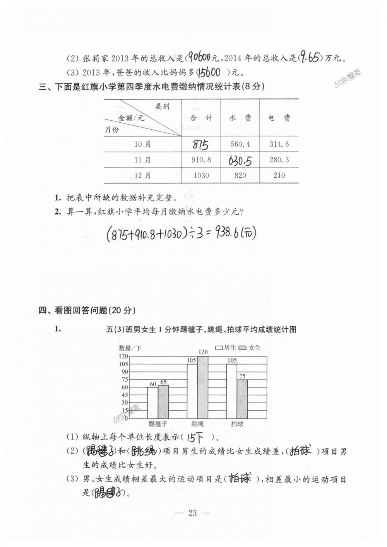 2018年练习与测试检测卷五年级数学上册苏教版第23页