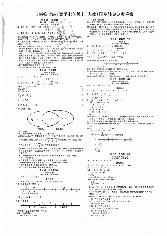 2018年七鸣巅峰对决同步辅导七年级数学上册人教版第1页