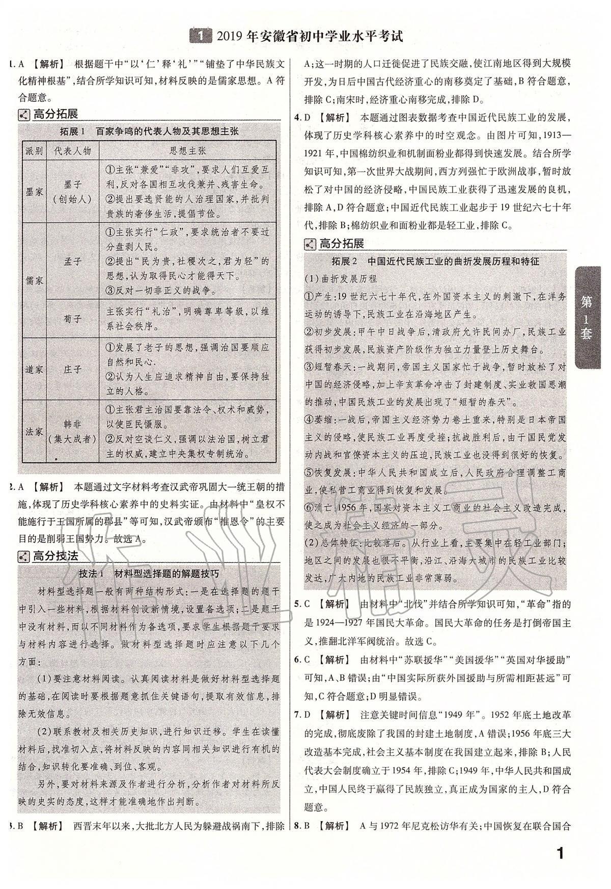 2020年金考卷安徽中考45套汇编历史第1页