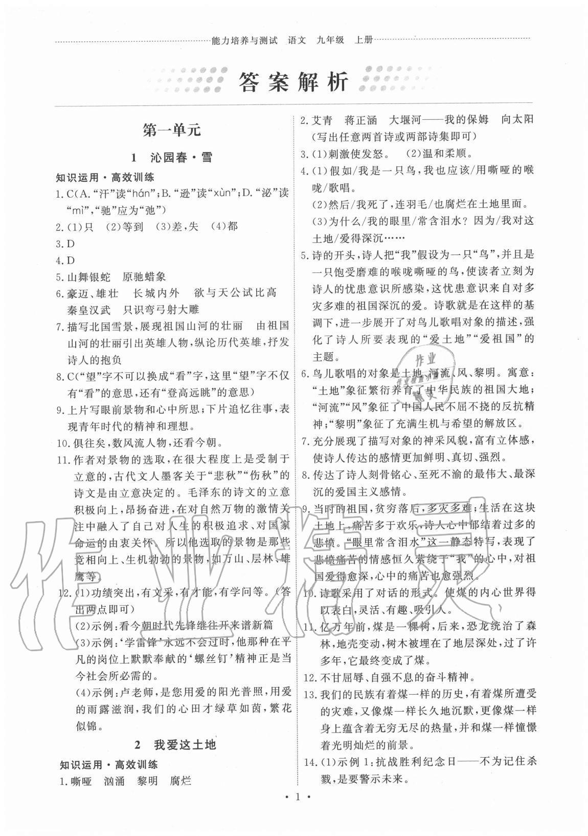 2020年能力培养与测试九年级语文上册人教版第1页