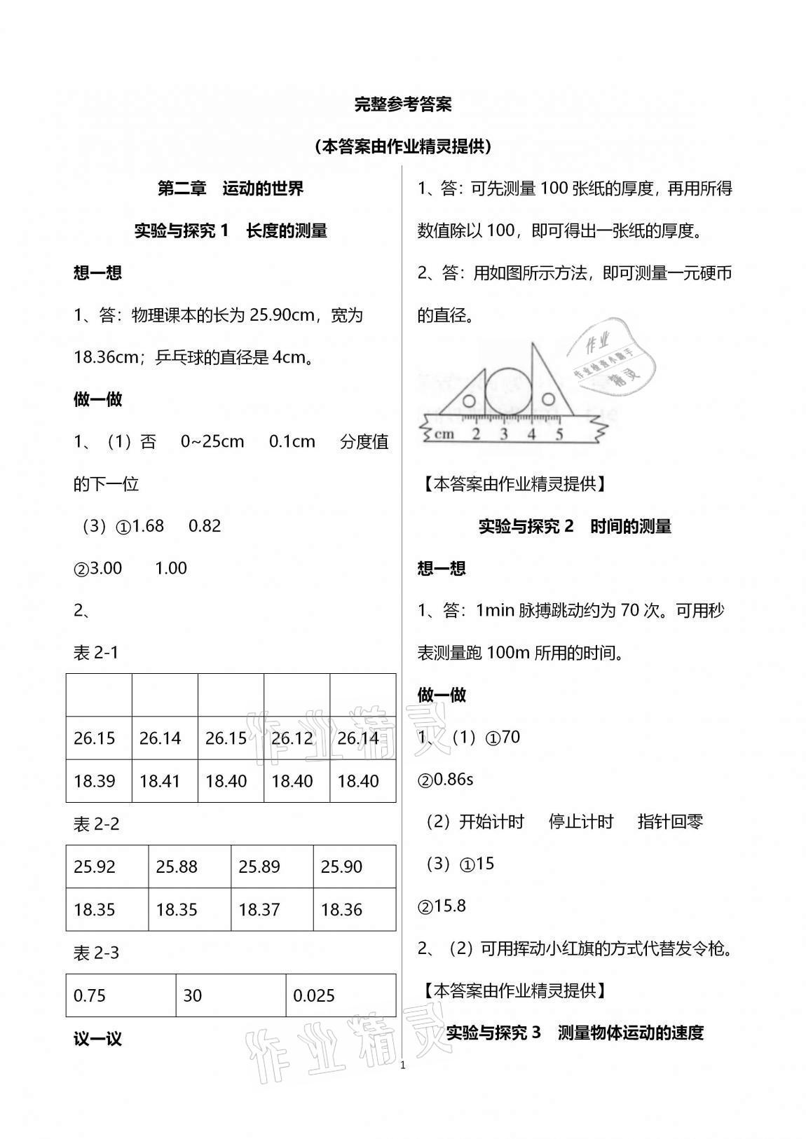 2020年初中实验探究报告册八年级物理全一册沪科版上海科学技术出版社第1页