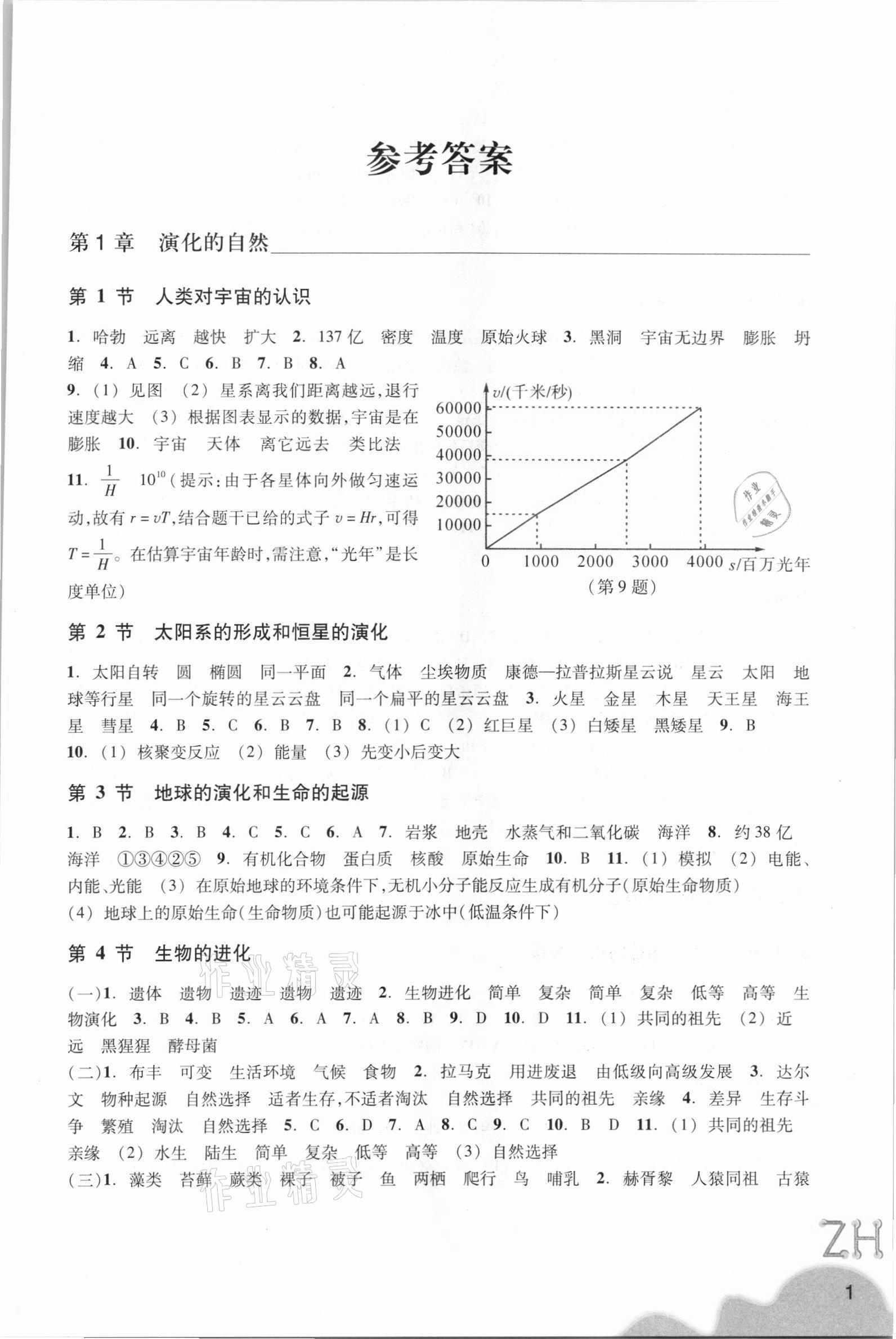 2021年科学作业本九年级下册浙教版浙江教育出版社第1页