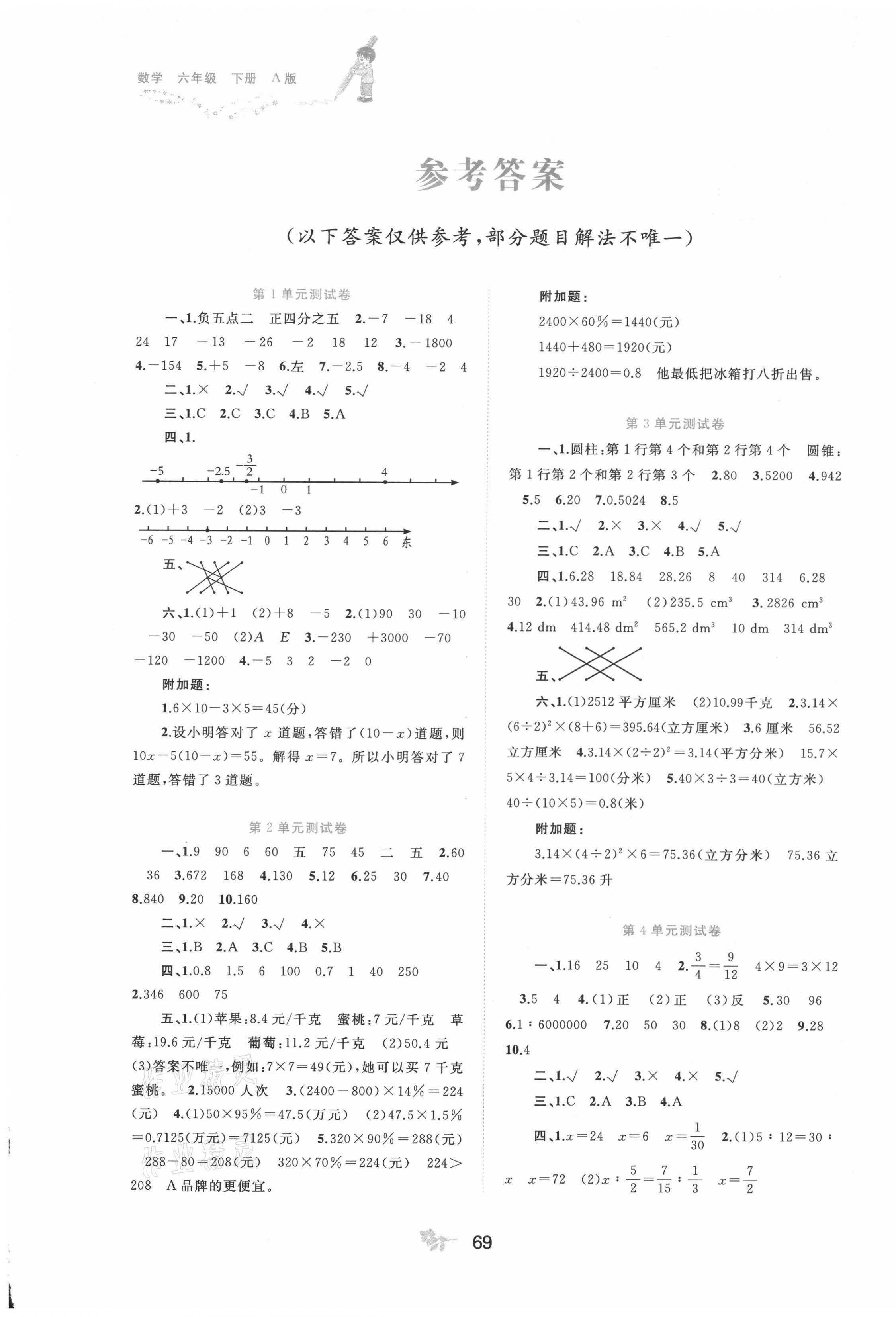 2021年新課程學習與測評單元雙測六年級數學下冊人教版A版第1頁