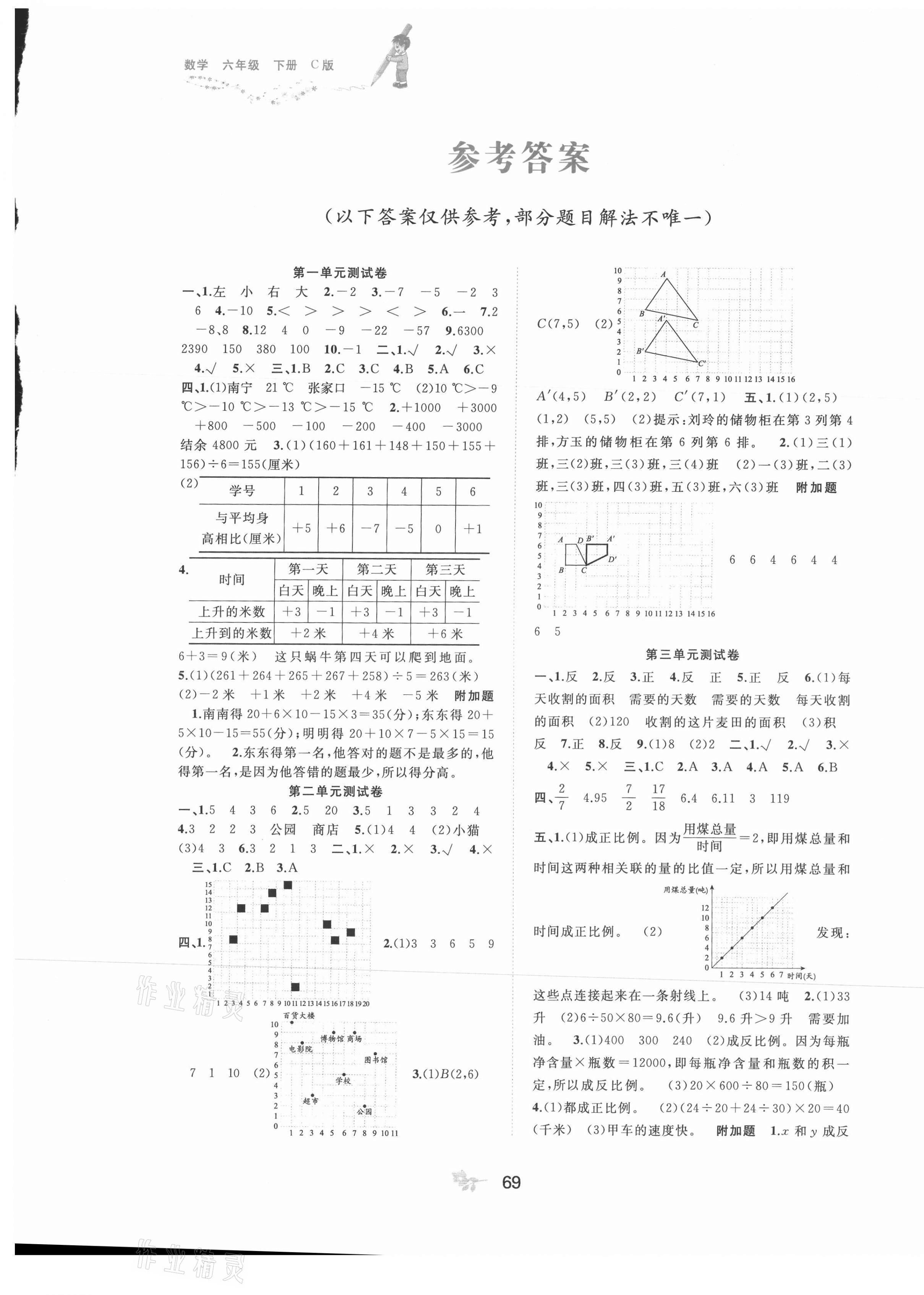 2021年新課程學習與測評單元雙測六年級數學下冊冀教版C版第1頁