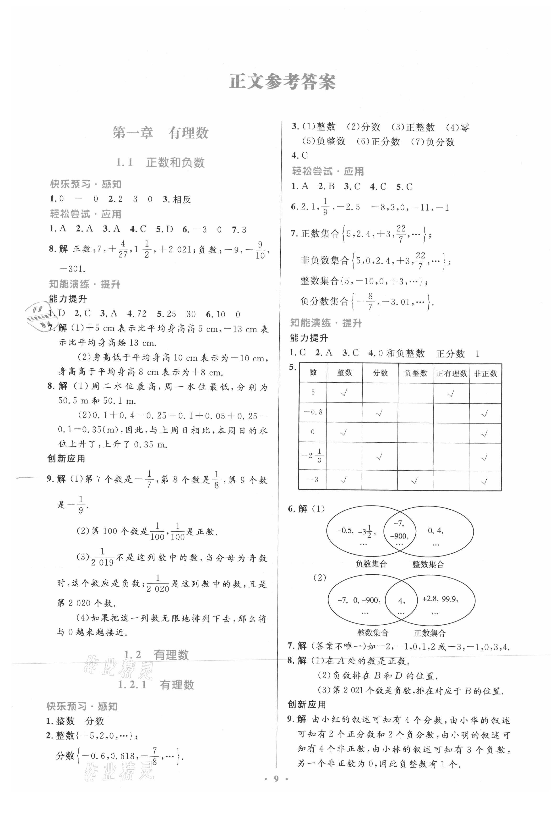 2021年同步测控优化设计七年级数学上册人教版福建专版第1页