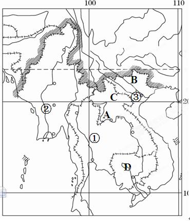 """下图是""""东南亚苏门答腊岛位置,地形,河流示意图"""",读图完成1~3题."""