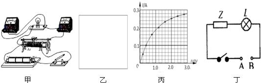 (3)利用实验数据绘出小灯泡的伏安特性曲线如图(丙)所示,若把电器
