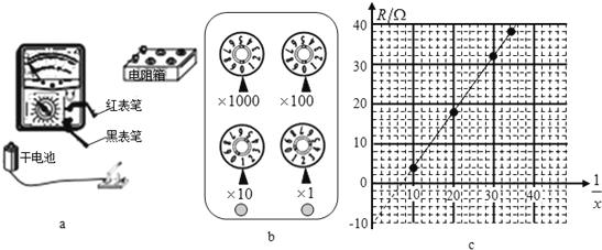 13.用电阻箱,多用电表,开关和导线测一节干电池的电动势和内阻.