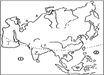 (2)东南亚主要由图中甲和丙两大部分组成.(填代号)