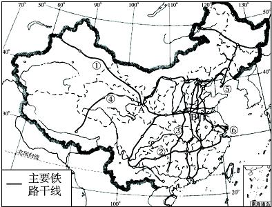 """(3)东西铁路干线中,最长的是陇海-兰新线,它是""""第二亚欧大陆桥""""的东"""