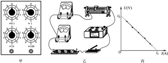 分析 电阻箱的读数方法:用所对的数字乘以下面的倍数,然后把他们相加,即得连入的电阻值. 由实验原理,根据电流表及电压表的接法要求连接实物图; U-I图线纵轴截距的表示电动势,斜率的大小绝对值等于内阻和电阻箱阻值之和. 解答 解:(1)R=81=8.0 (2)由实验原理连接实物图: (3)如图丙所示的U-I关系图线,若图线在U轴的截距为U