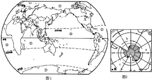 15.读世界大洲,大洋分布图和南极极地图,回答下列问题.