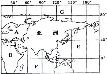 亚洲地囹�9�%9�._10.读亚洲轮廓图,回答下列问题.
