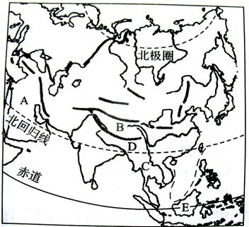 读亚洲轮廓图,填空